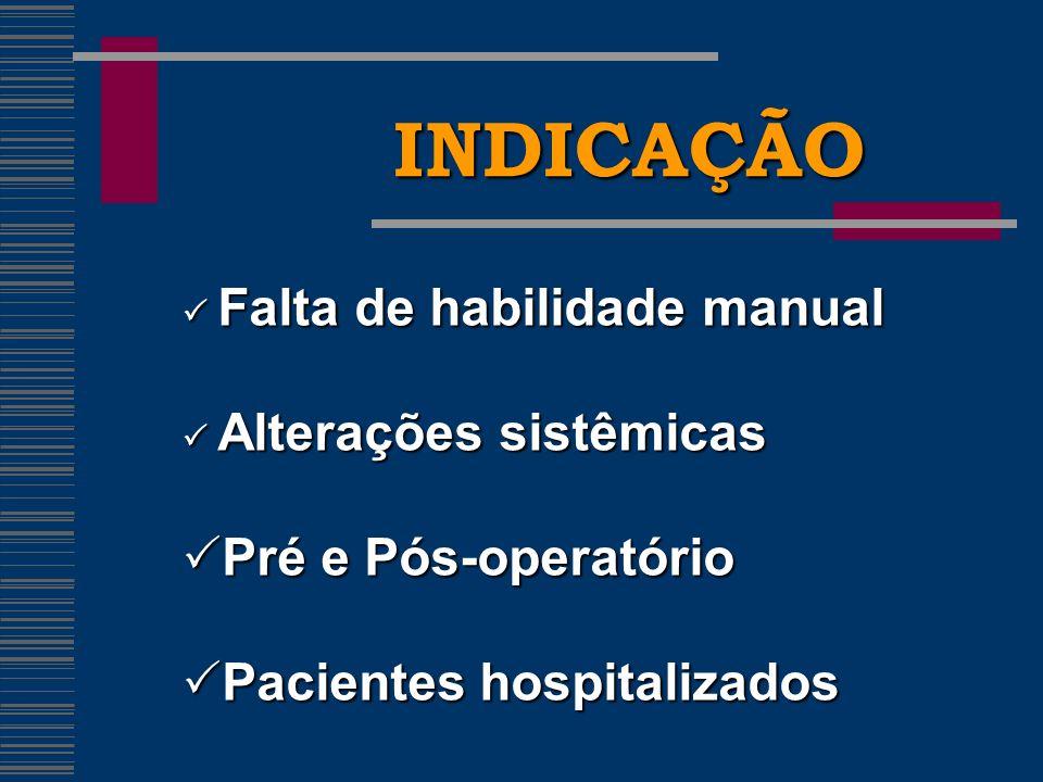 INDICAÇÃO Pré e Pós-operatório Pacientes hospitalizados