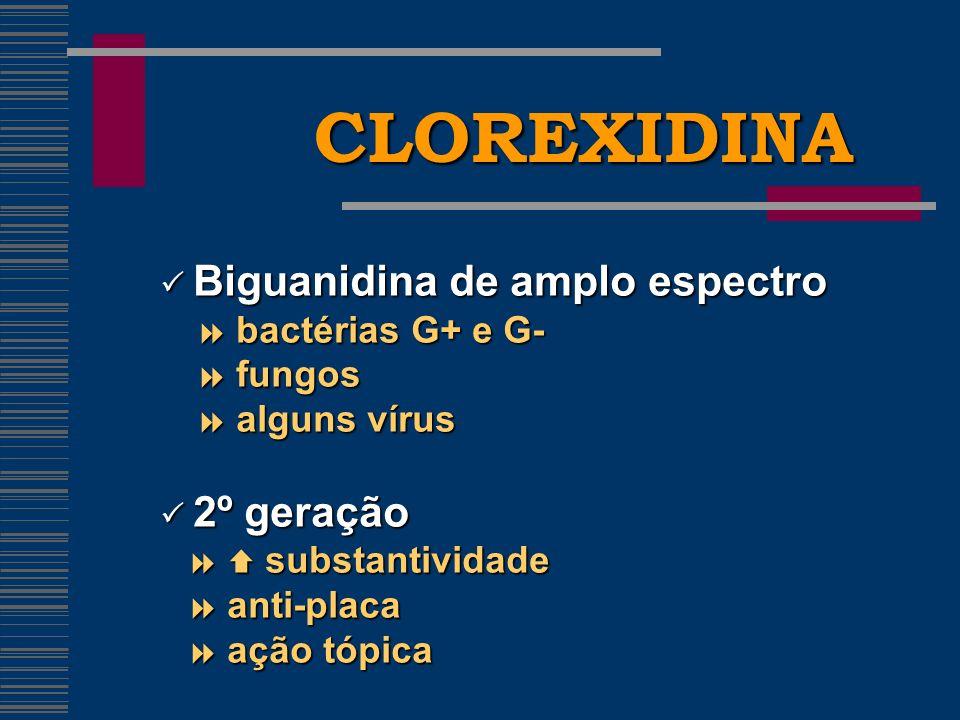 CLOREXIDINA  Biguanidina de amplo espectro  bactérias G+ e G-