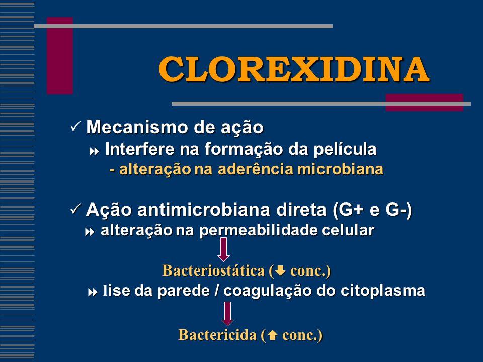 CLOREXIDINA  Mecanismo de ação  Interfere na formação da película