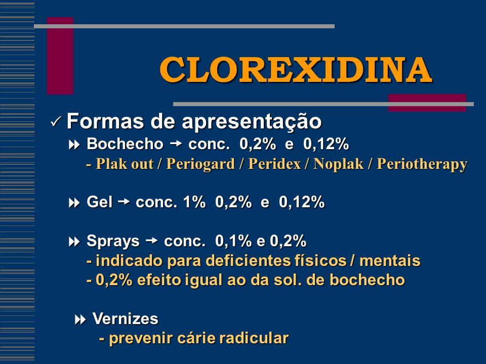CLOREXIDINA  Formas de apresentação  Bochecho  conc. 0,2% e 0,12%
