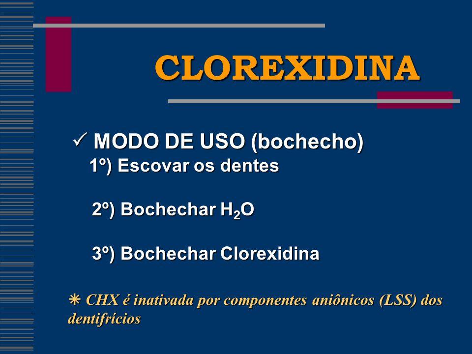 CLOREXIDINA  MODO DE USO (bochecho) 2º) Bochechar H2O