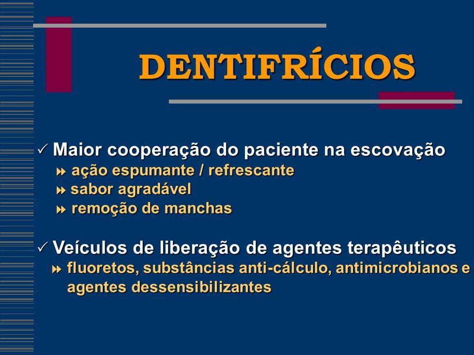 DENTIFRÍCIOS  Maior cooperação do paciente na escovação