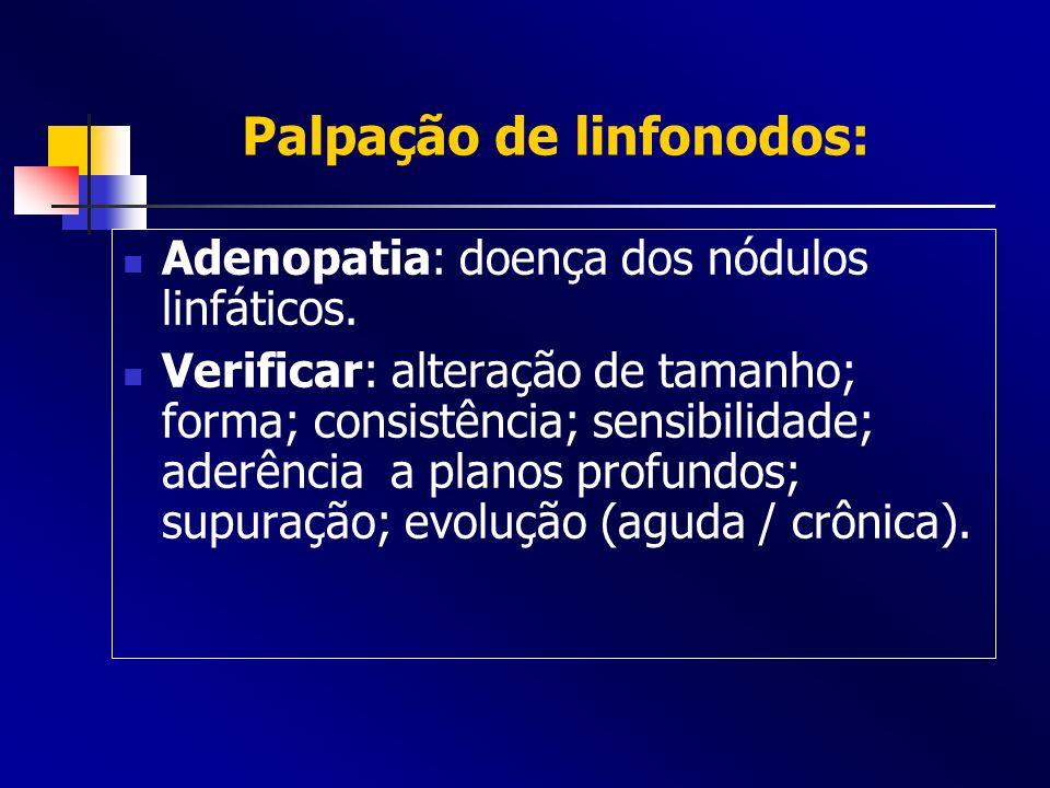 Palpação de linfonodos: