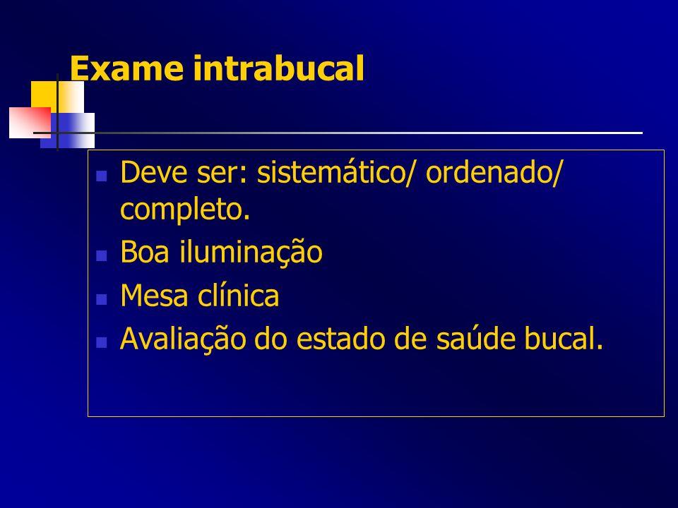 Exame intrabucal Deve ser: sistemático/ ordenado/ completo.