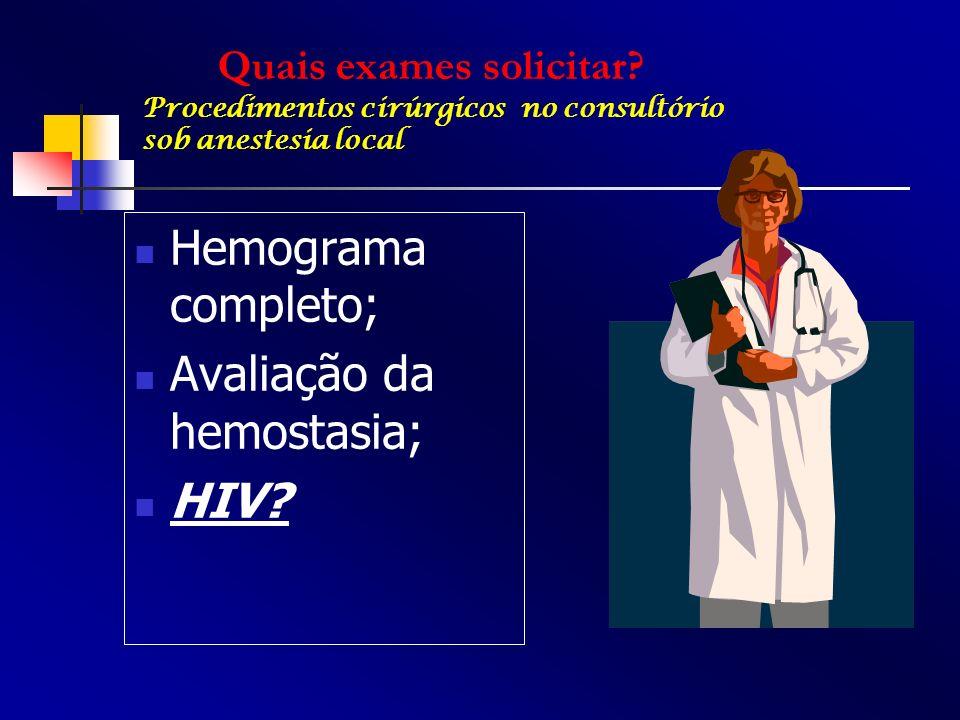 Avaliação da hemostasia; HIV