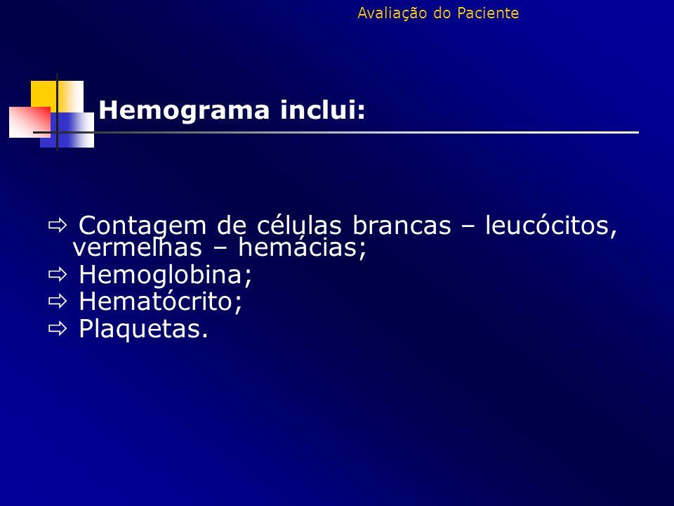  Contagem de células brancas – leucócitos, vermelhas – hemácias;
