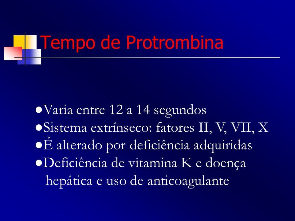 Tempo de Protrombina ●Varia entre 12 a 14 segundos