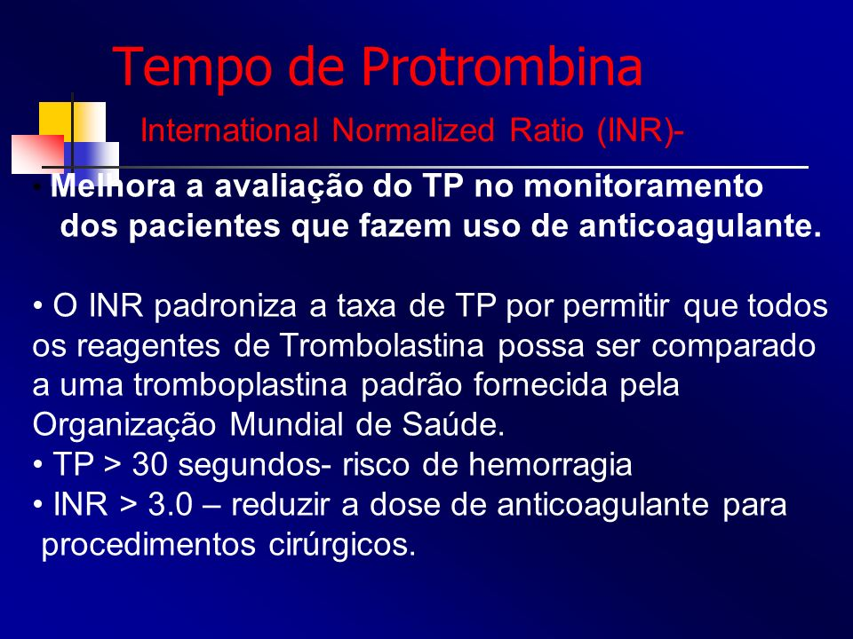 Tempo de Protrombina International Normalized Ratio (INR)-