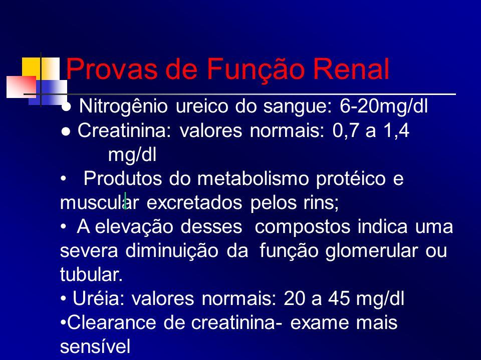 Provas de Função Renal ● Nitrogênio ureico do sangue: 6-20mg/dl