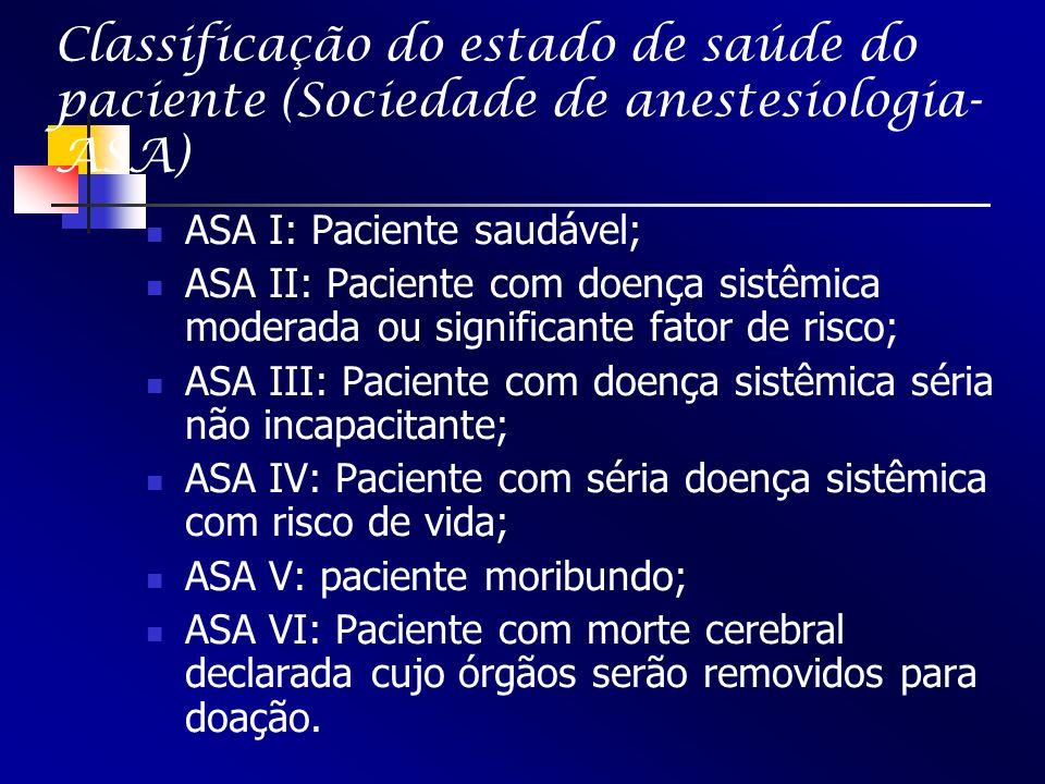 Classificação do estado de saúde do paciente (Sociedade de anestesiologia-ASA)