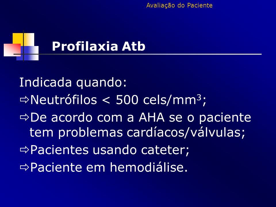 Profilaxia Atb Indicada quando: Neutrófilos < 500 cels/mm3;