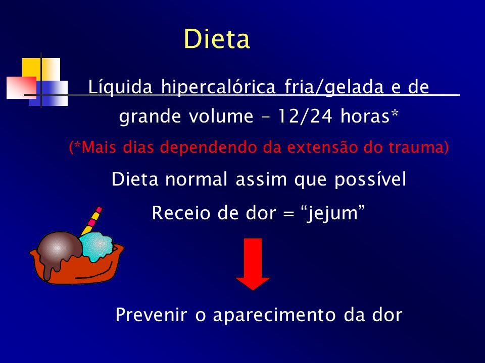 Dieta Líquida hipercalórica fria/gelada e de grande volume – 12/24 horas* (*Mais dias dependendo da extensão do trauma)