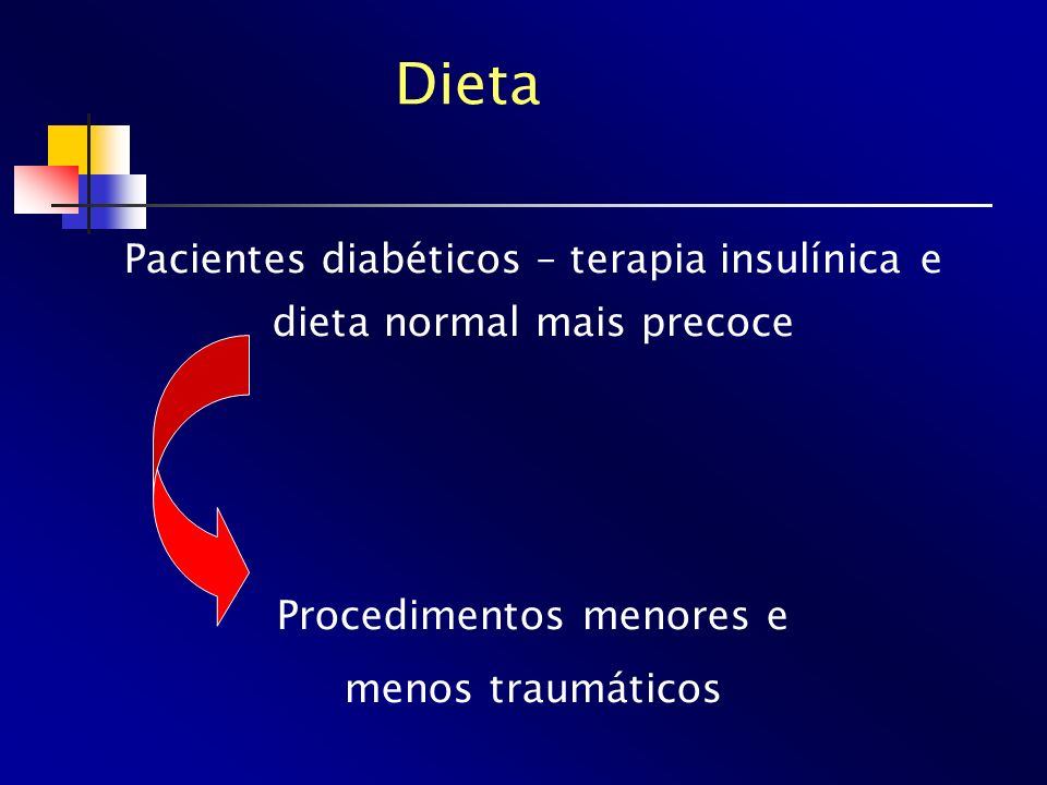 Dieta Pacientes diabéticos – terapia insulínica e dieta normal mais precoce. Procedimentos menores e.