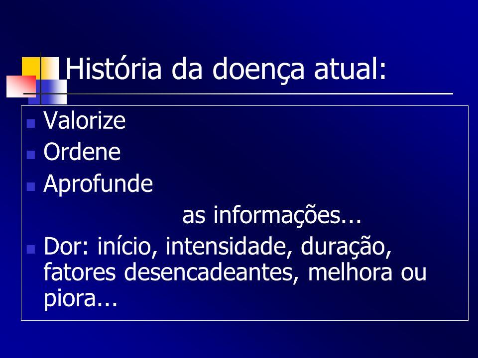 História da doença atual: