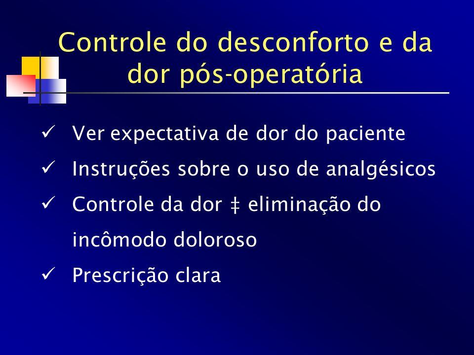 Controle do desconforto e da dor pós-operatória