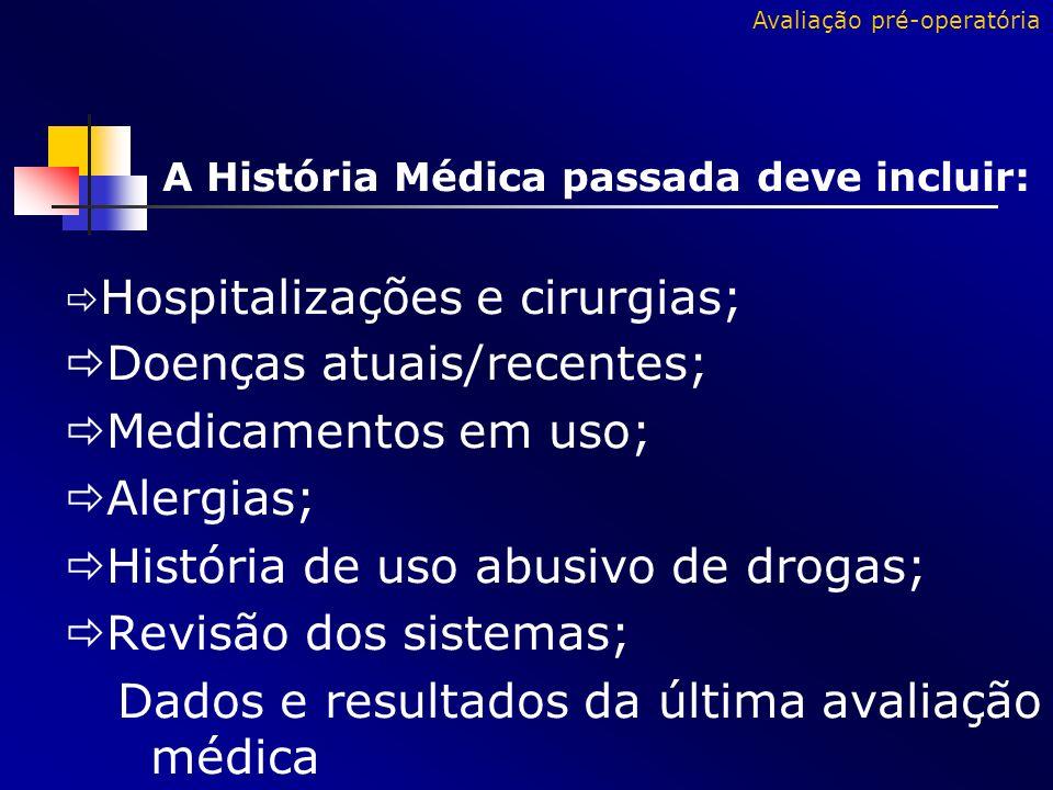 Doenças atuais/recentes; Medicamentos em uso; Alergias;