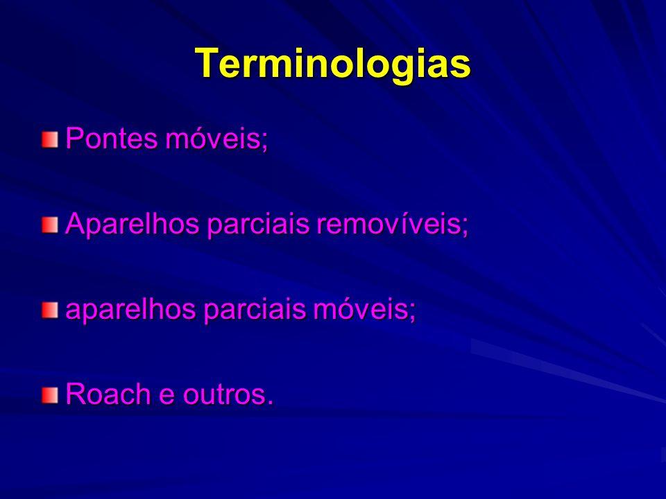 Terminologias Pontes móveis; Aparelhos parciais removíveis;