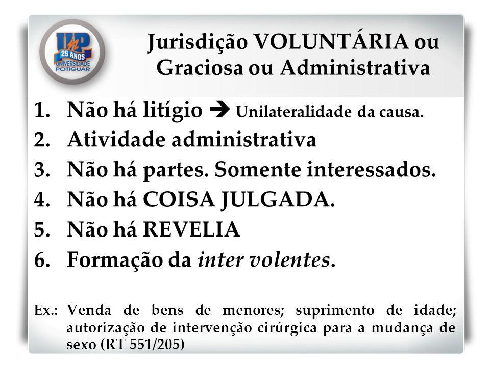 Jurisdição VOLUNTÁRIA ou Graciosa ou Administrativa