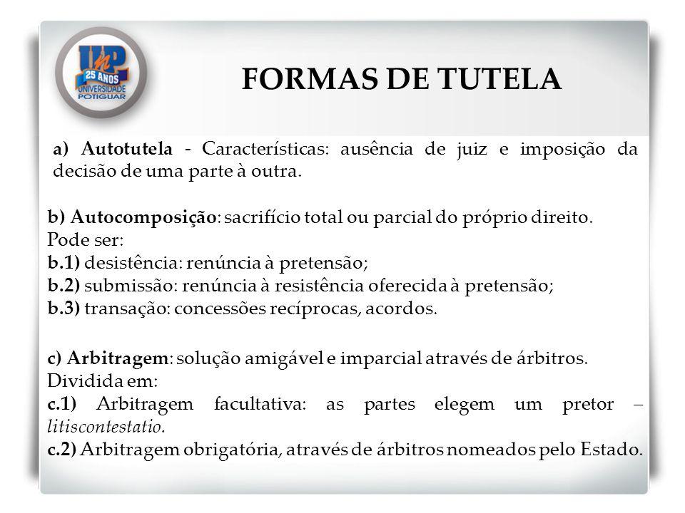 FORMAS DE TUTELA a) Autotutela - Características: ausência de juiz e imposição da decisão de uma parte à outra.