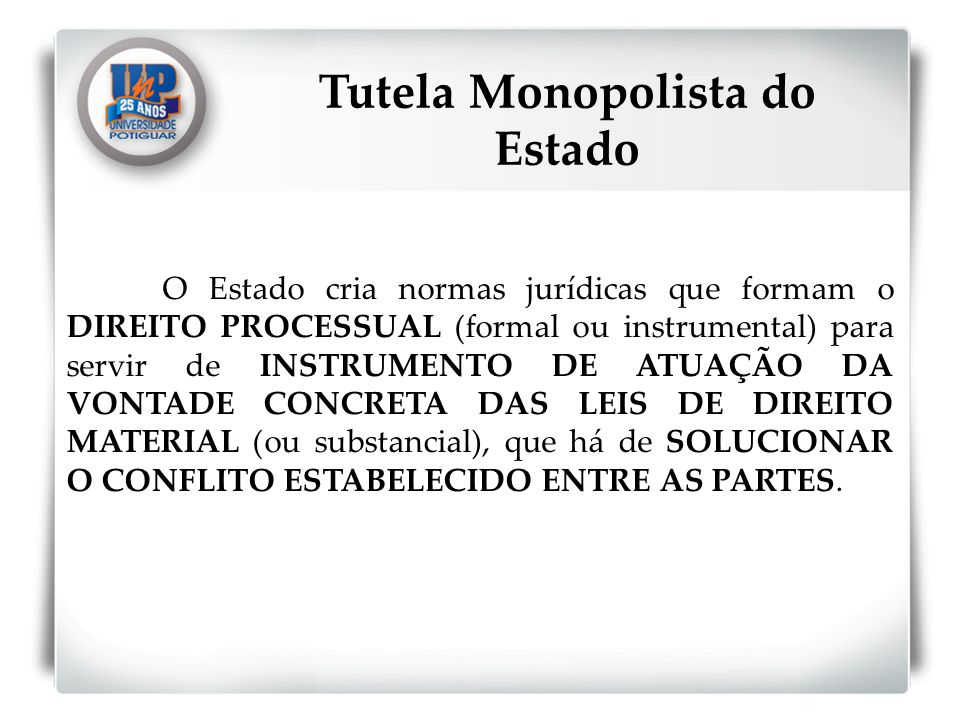 Tutela Monopolista do Estado