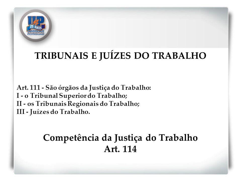 TRIBUNAIS E JUÍZES DO TRABALHO Competência da Justiça do Trabalho