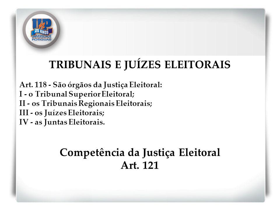 TRIBUNAIS E JUÍZES ELEITORAIS Competência da Justiça Eleitoral