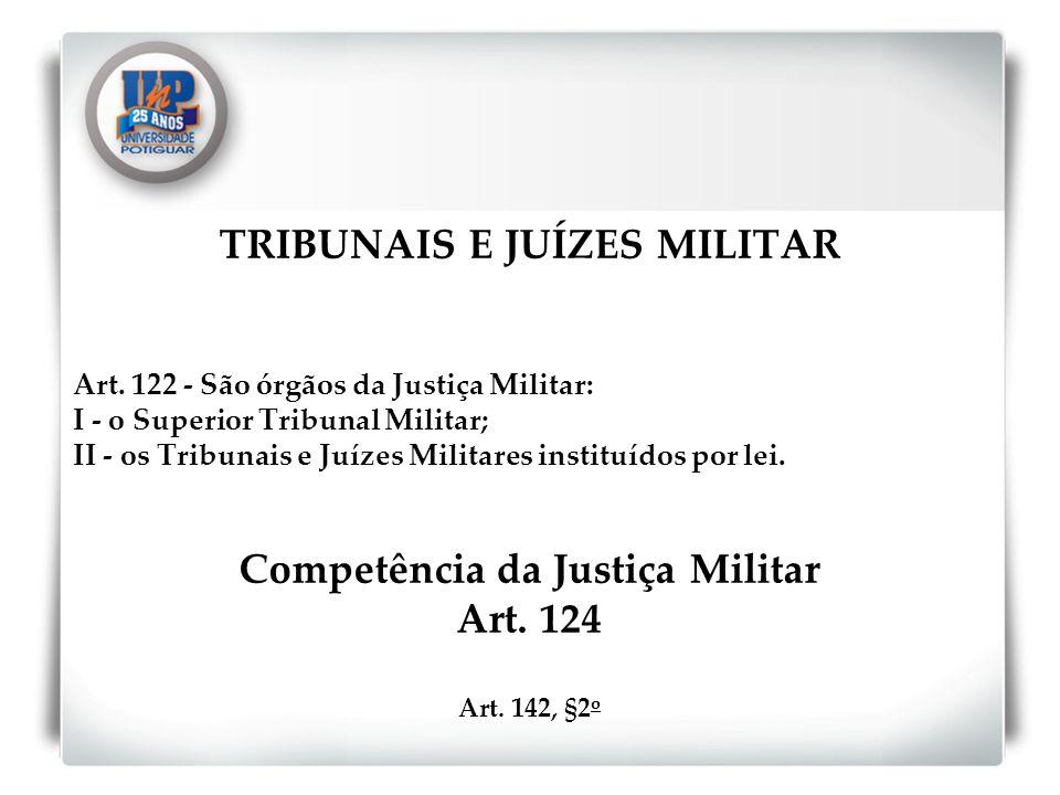 TRIBUNAIS E JUÍZES MILITAR Competência da Justiça Militar