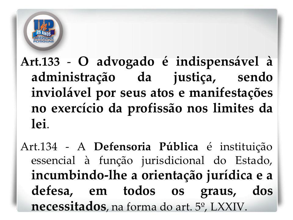 Art.133 - O advogado é indispensável à administração da justiça, sendo inviolável por seus atos e manifestações no exercício da profissão nos limites da lei.