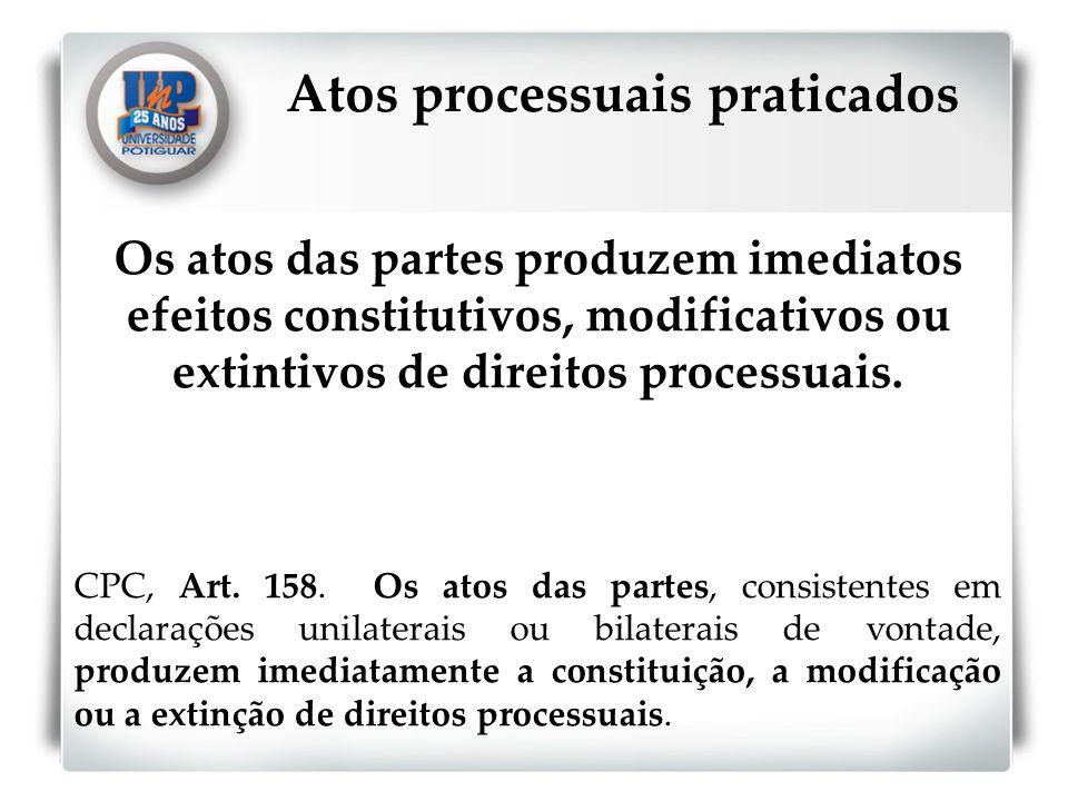 Atos processuais praticados