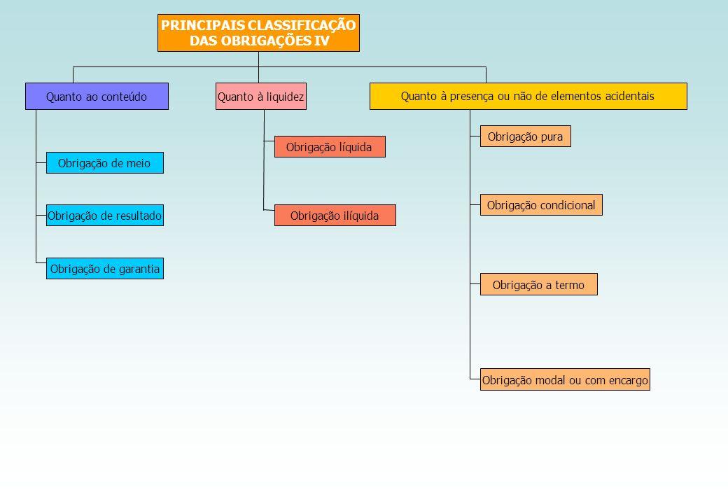 PRINCIPAIS CLASSIFICAÇÃO DAS OBRIGAÇÕES IV