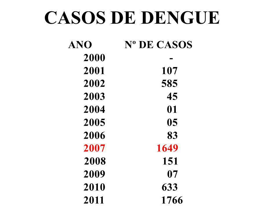 CASOS DE DENGUE ANO Nº DE CASOS. 2000 - 2001 107. 2002 585.