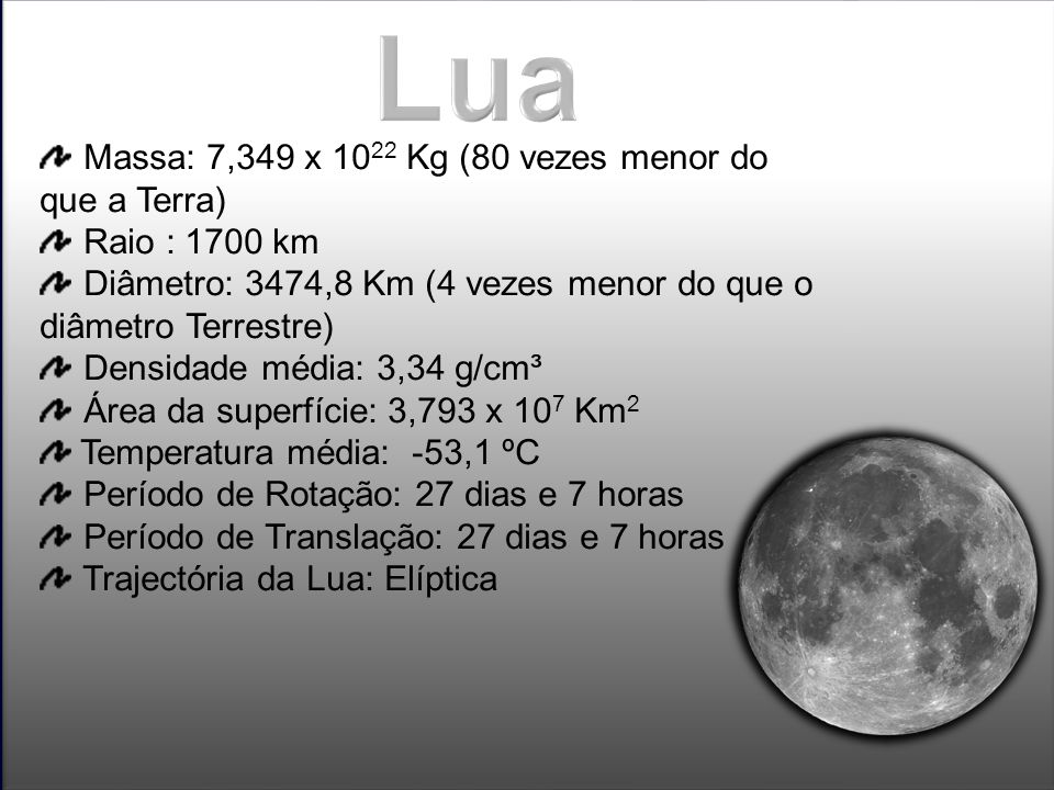 Lua Massa: 7,349 x 1022 Kg (80 vezes menor do que a Terra)