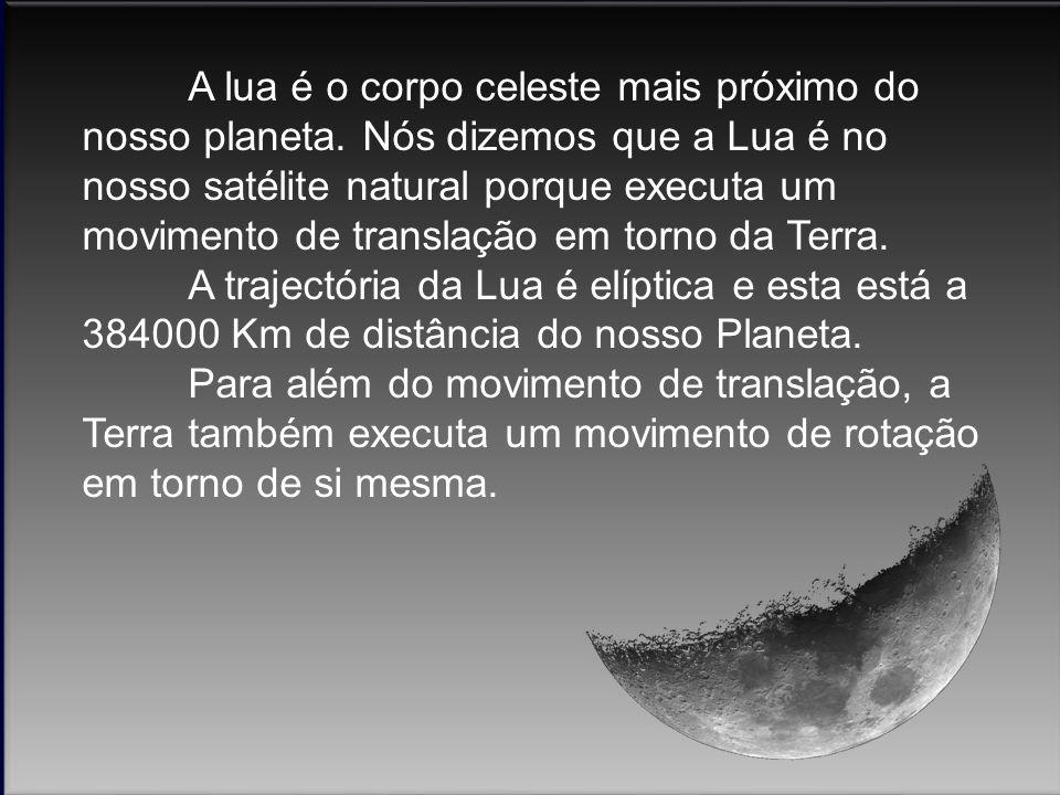 A lua é o corpo celeste mais próximo do nosso planeta