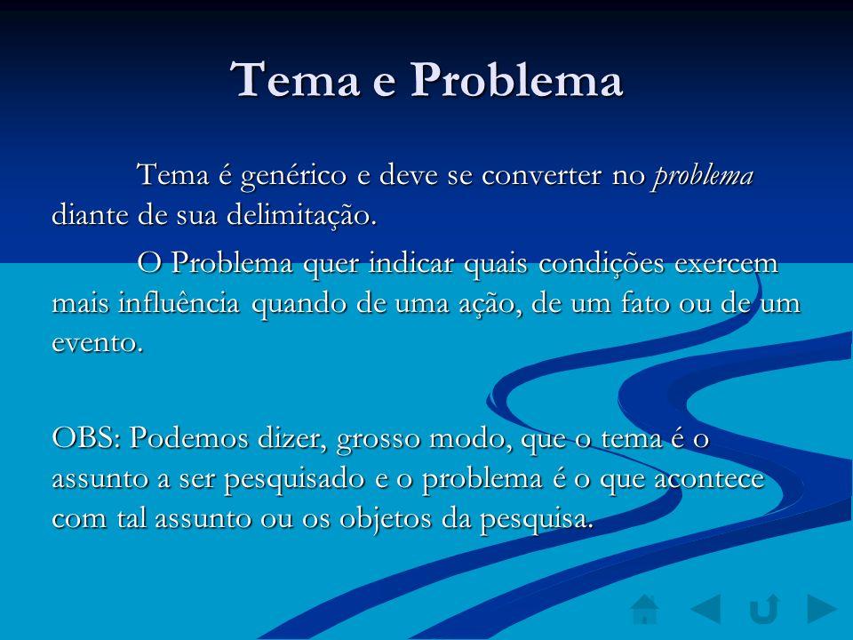 Tema e Problema Tema é genérico e deve se converter no problema diante de sua delimitação.