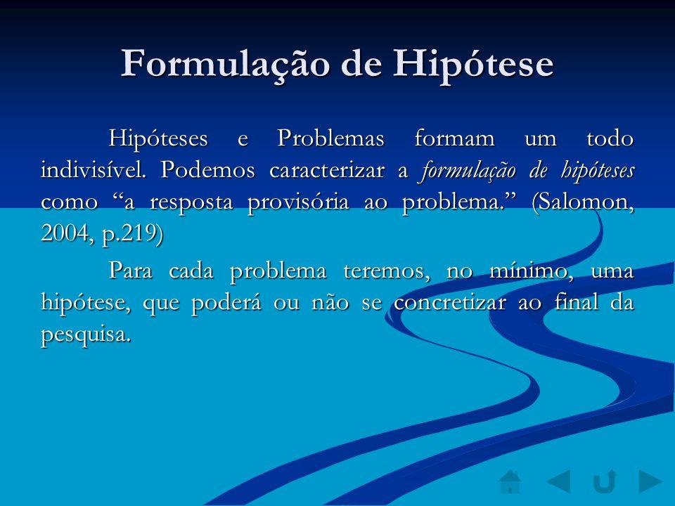 Formulação de Hipótese