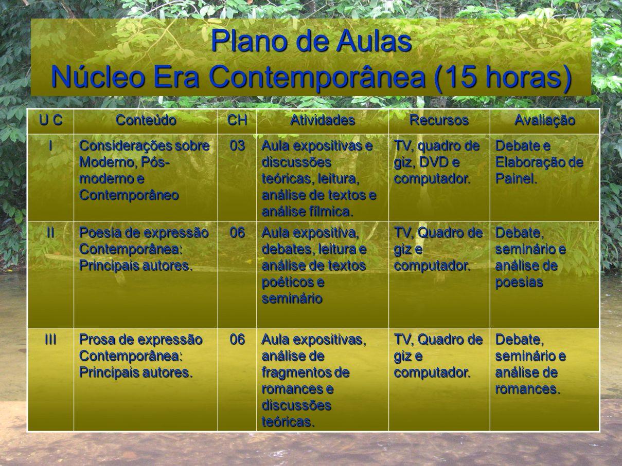 Plano de Aulas Núcleo Era Contemporânea (15 horas)
