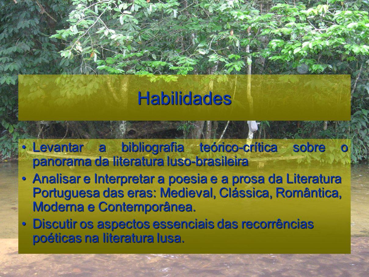 Habilidades Levantar a bibliografia teórico-crítica sobre o panorama da literatura luso-brasileira.