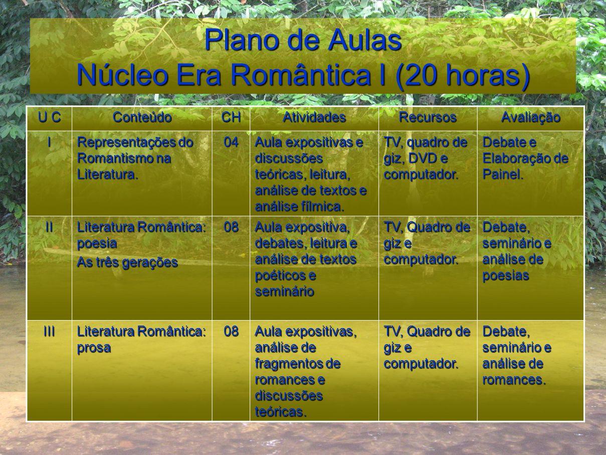 Plano de Aulas Núcleo Era Romântica I (20 horas)