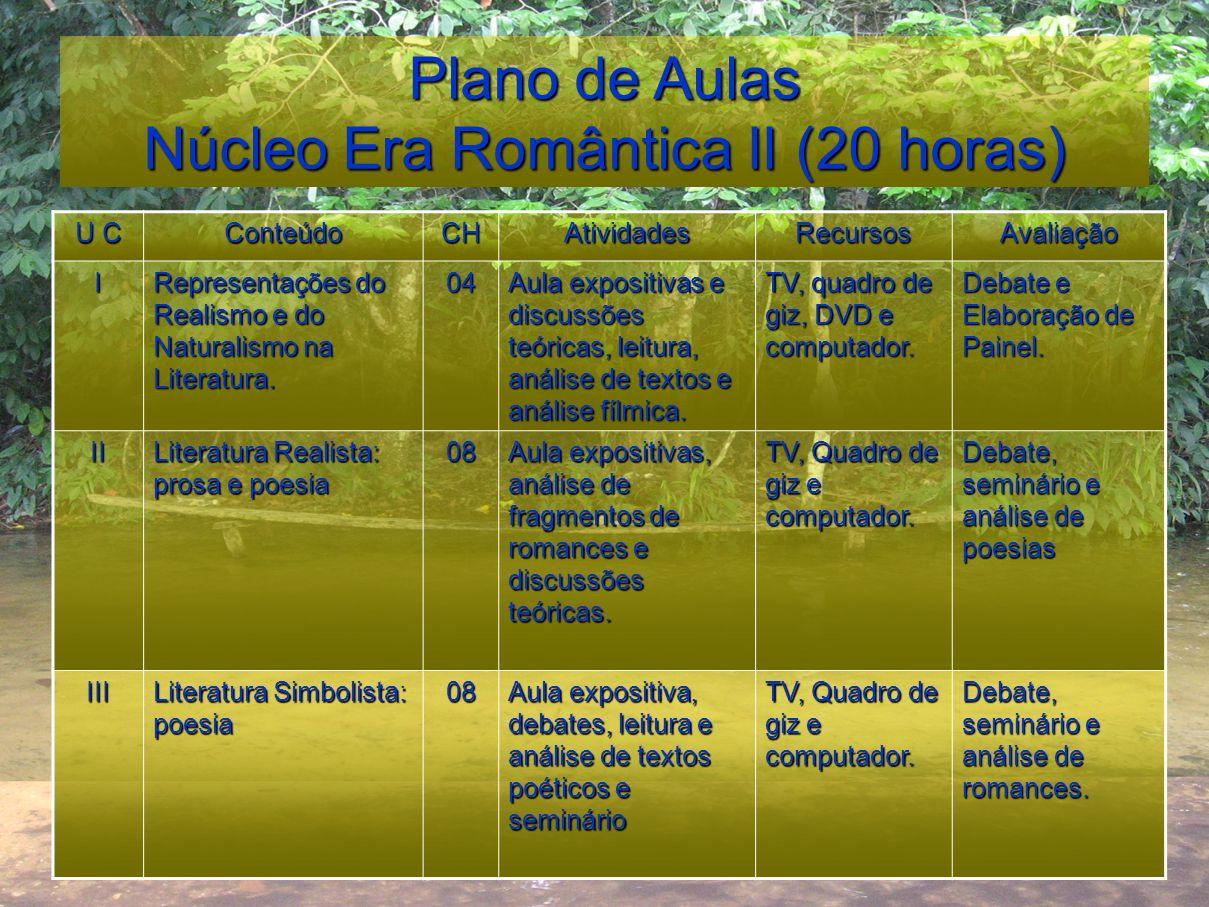 Plano de Aulas Núcleo Era Romântica II (20 horas)