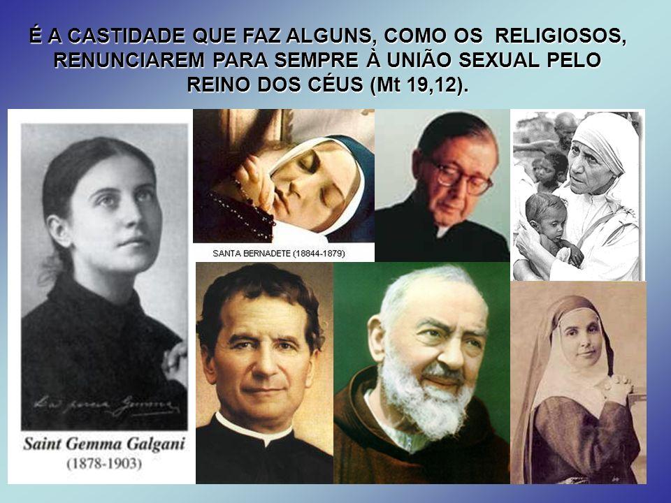 É A CASTIDADE QUE FAZ ALGUNS, COMO OS RELIGIOSOS, RENUNCIAREM PARA SEMPRE À UNIÃO SEXUAL PELO REINO DOS CÉUS (Mt 19,12).