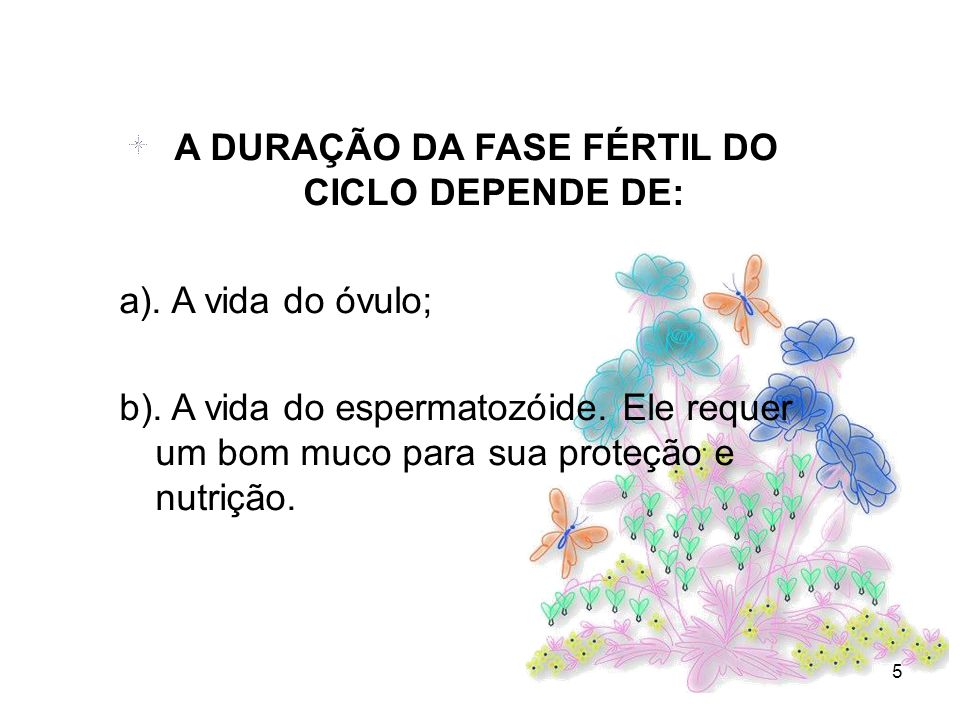 A DURAÇÃO DA FASE FÉRTIL DO CICLO DEPENDE DE: