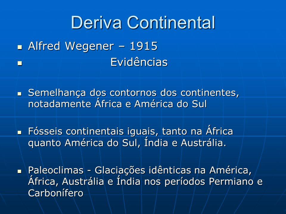 Deriva Continental Alfred Wegener – 1915 Evidências