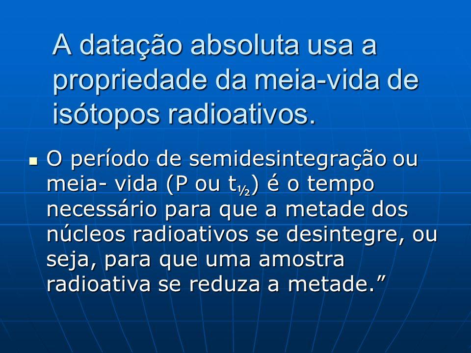 A datação absoluta usa a propriedade da meia-vida de isótopos radioativos.