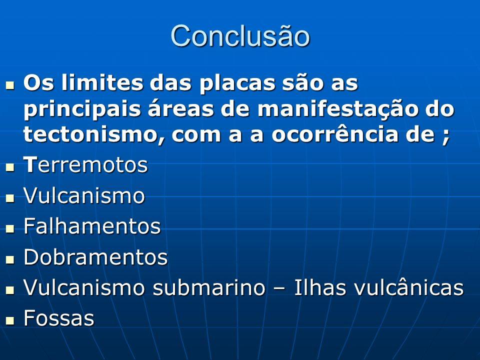 Conclusão Os limites das placas são as principais áreas de manifestação do tectonismo, com a a ocorrência de ;