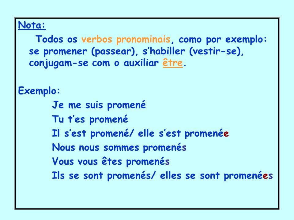 Nota: Todos os verbos pronominais, como por exemplo: se promener (passear), s'habiller (vestir-se), conjugam-se com o auxiliar être.