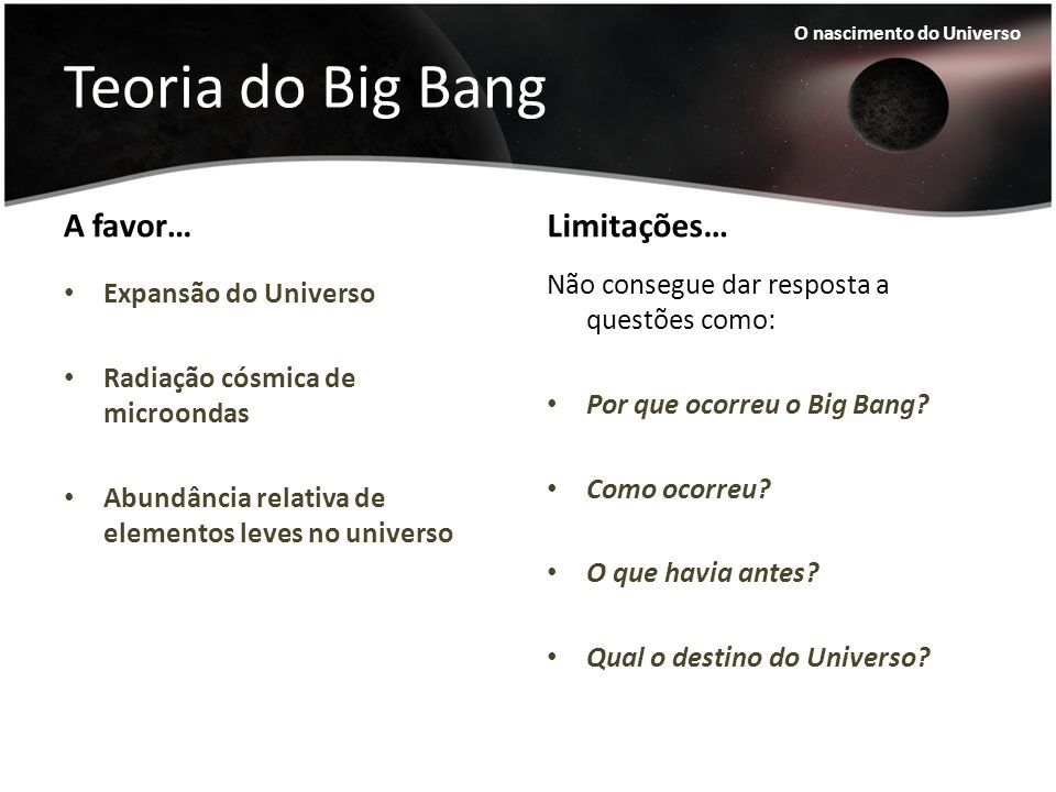 Teoria do Big Bang A favor… Limitações…