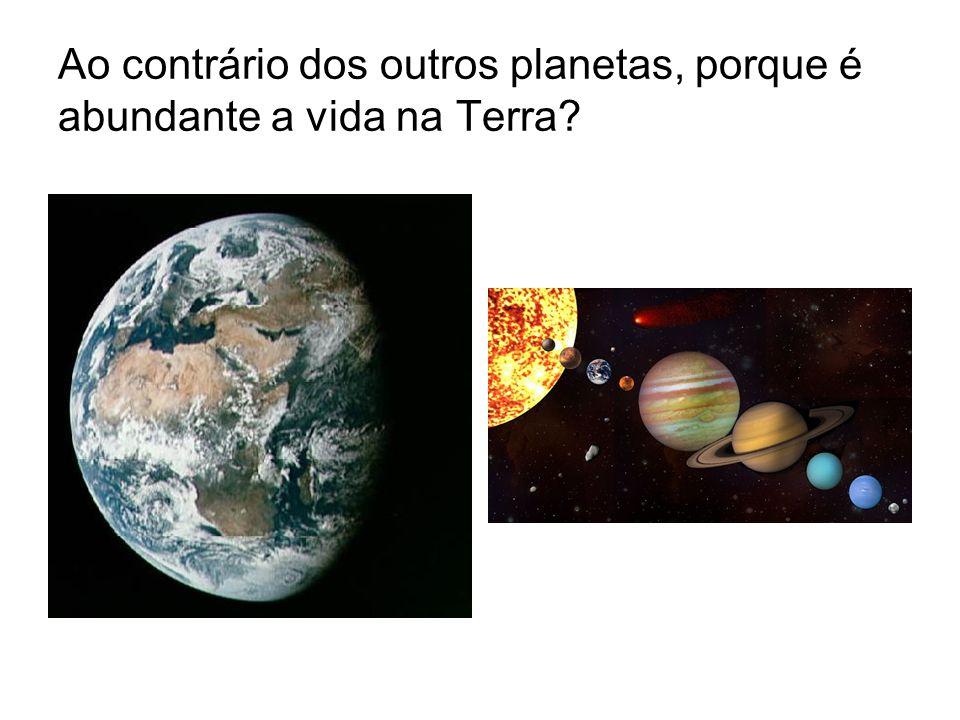 Ao contrário dos outros planetas, porque é abundante a vida na Terra