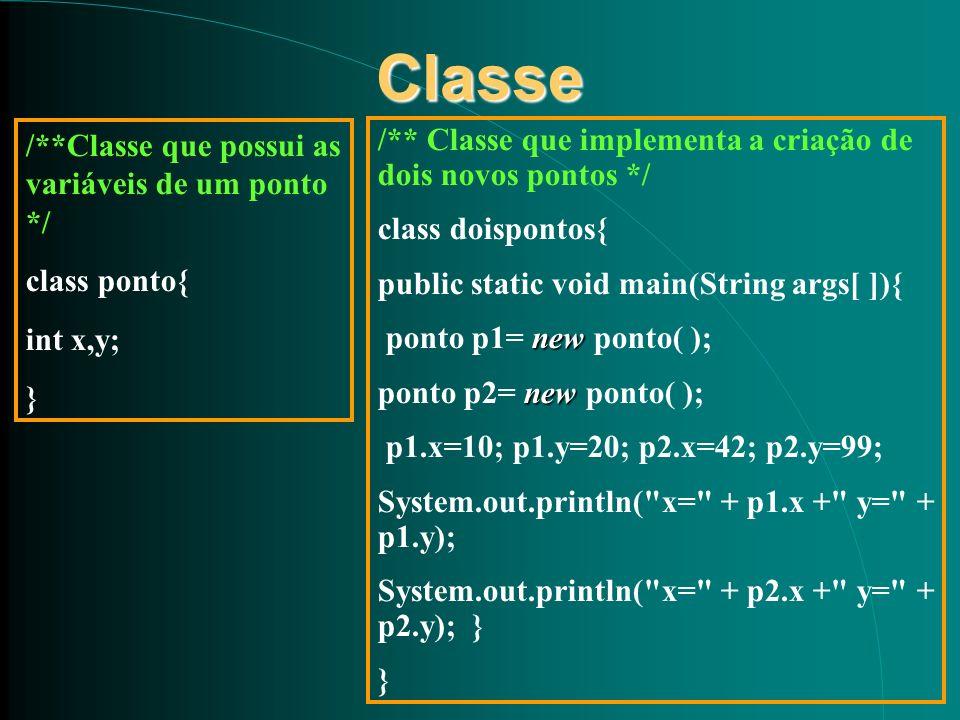 Classe /**Classe que possui as variáveis de um ponto */ class ponto{