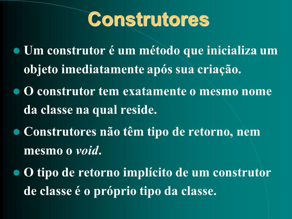 Construtores Um construtor é um método que inicializa um objeto imediatamente após sua criação.