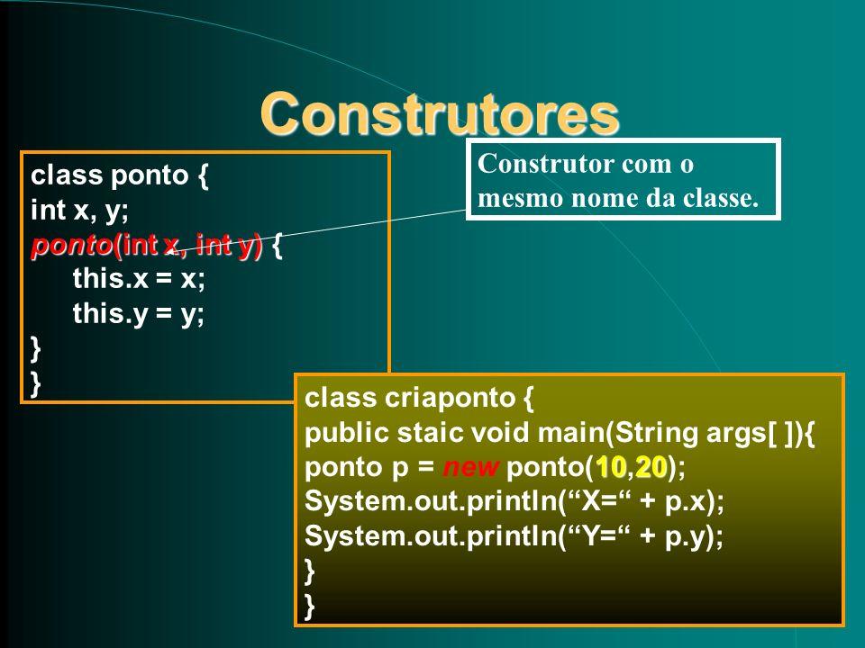 Construtores Construtor com o mesmo nome da classe. class ponto {